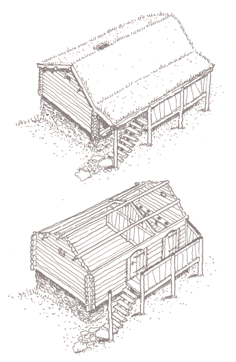 Reconstruction of Medieval Norwegian Storehouse cum Latrine, based on description in Grettis saga